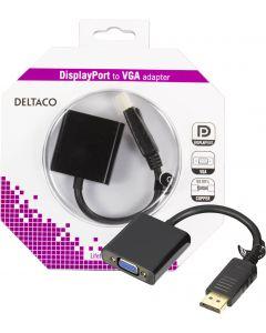 DELTACO DisplayPort till VGA 20-p ha - 15-p ho, 0,2m, svart
