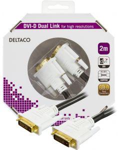 DELTACO DVI monitorkabel Dual Link, DVI-D ha - ha 2m