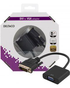 DELTACO DVI-adapter, DVI-D Dual-VGA, 24+1-pin ha-15-pin ho, svart