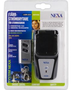 Nexa, fjärrströmbrytare för utomhusbruk, IP44, max 16A, fjärrkontr