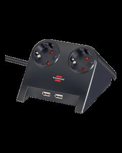 Brennenstuhl Desktop-Power, 2xCEE7/4, 2xUSB 2,1A, 1,8m kabel, svart