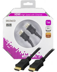 DELTACO HDMI-kabel, v1.4+Ethernet, 19-pin ha-ha, 1080p, svart, 1m