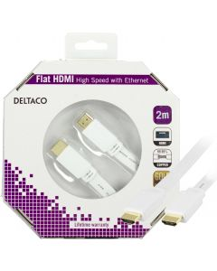 DELTACO HDMI-kabel, v1.4+Ethernet, 19-pin ha-ha, 1080p, flat, vit, 2m