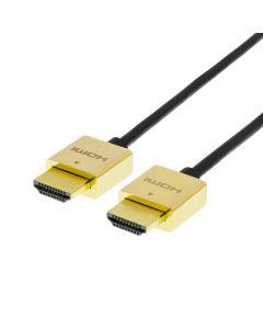 DELTACO PRIME tunn HDMI-kabe med guldpläterade zink-kontakter, 2m