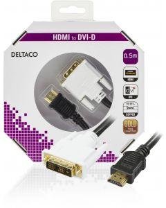 DELTACO HDMI till DVI kabel, 19-pin-DVI- D Single Link, 0,5m, svart