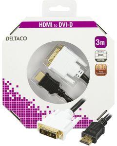 DELTACO HDMI till DVI kabel, 19-pin-DVI-D Single Link, 3m, svart