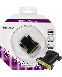 DELTACO HDMI-adapter, HDMI 19-pin hona till DVI-D hane, guldpläterad