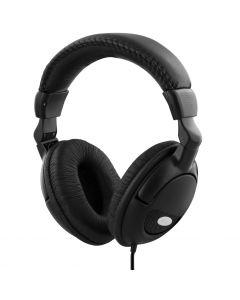 DELTACO, hörlur med volymkontroll, 2,2m kabel, svart
