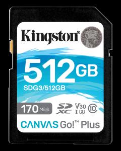 Kingston 512GB SDXC Canvas Go Plus 170R C10 UHS-I U3 V30