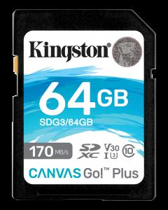 Kingston 64GB SDXC Canvas Go Plus 170R C10 UHS-I U3 V30