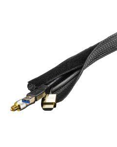 DELTACO kabelsorteringsstrumpa i nylon, kardborrband, 3m, svart