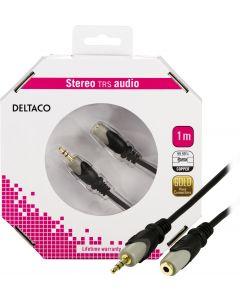 DELTACO, ljudkabel 3,5mm ha - ho, guldplätterad, 1m