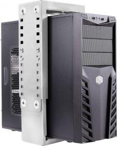 DELTACO datorhållare för montering under bord eller på vägg, silver