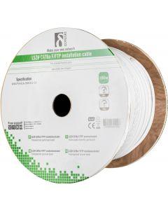 DELTACO F/FTP folieskärmad inst.kabel, Cat6a, LSZH , 100m rulle, vit