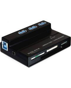 DeLOCK, USB 3.0 minneskortläsare och 3 portars hubb, 4 fack, svart