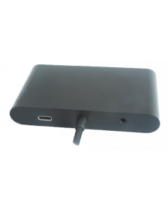 USB-C dockningsstation med HDMI, RJ45, 1xUSB A, USB-C PD, 3,5mm, svart
