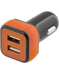 STREETZ billaddare, 2x USB-port, 12-18V till 5V 4,4A USB, svart/orange