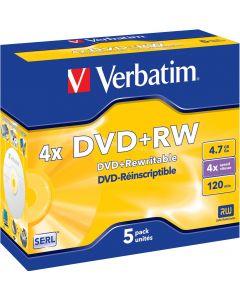 Verbatim DVD+RW, 4x, 4,7 GB/120 min, 5-pack jewel case, SERL