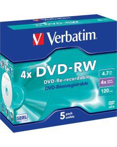 Verbatim DVD-RW, 4x, 4,7 GB/120 min, 5-pack jewel case, SERL