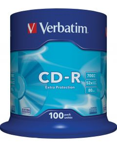 Verbatim CD-R, 52x, 700 MB/80 min, 100-pack spindel, Extra protection
