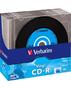 Verbatim CD-R, 52x, 700 MB/80 min, 10-pack slimcase, vinyl