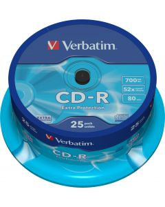 Verbatim CD-R, 52x, 700 MB/80 min, 25-pack, spindel, Extra Protection