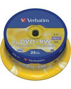 Verbatim DVD+RW, 1-4x, 4,7 GB/120 min, 25-pack spindel, SERL