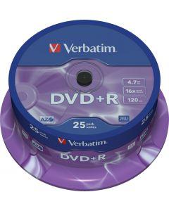 Verbatim DVD+R, 16x, 4,7 GB/120 min, 25-pack spindel, AZO