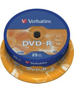 Verbatim DVD-R, 16x, 4,7 GB/120 min, 25-pack spindel, AZO