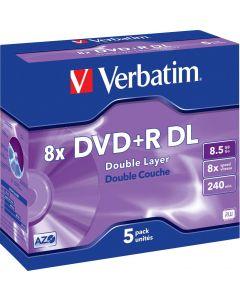Verbatim DVD+R DL, 8x, 8,5 GB/240 min, 5-pack jewel case, AZO