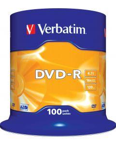 Verbatim DVD-R, 16x, 4,7 GB/120 min, 100-pack spindel, AZO