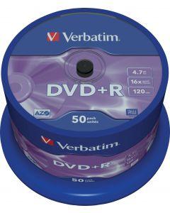 Verbatim DVD+R, 16x, 4,7 GB/120 min, 50-pack spindel, AZO