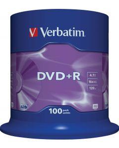 Verbatim DVD+R, 16x, 4,7 GB/120 min, 100-pack spindel, AZO