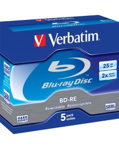 Verbatim BD-RE, 2x, 25 GB/200 min, 5-pack jewel case Hard Coat SERL