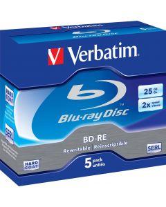 Verbatim BD-RE, 2x, 25 GB/200 min, 5-pack jewel case Hard Coat SERL