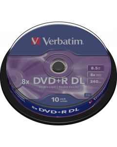 Verbatim DVD+R DL, 8x, 8,5 GB/240 min, 10-pack spindel, AZO