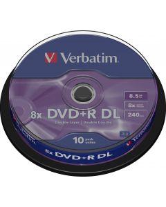 Verbatim DVD+R DL, 8x, 8,5 GB/240 min, 10-pack spindel, AZO