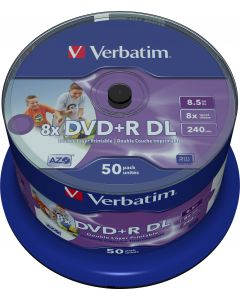 Verbatim DVD+R DL, 8x, 8,5 GB/240 min, 50-pack spindel, AZO