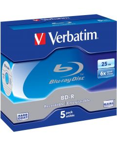 Verbatim BD-R, 6x, 25 GB/200 min, 5-pack jewel case Hard Coat MABL