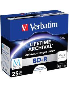 Verbatim M-Disc BD-R, 4x, 25GB/200min, 5-pack jewel case