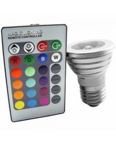 LED-lampa som kan skifta färg med fjärrkontroll