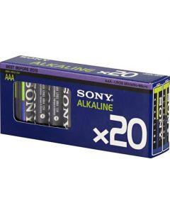 SONY Alkaline Ecopack, LR03 / AAA batterier, alkaliska, 1,5V, 20-pack