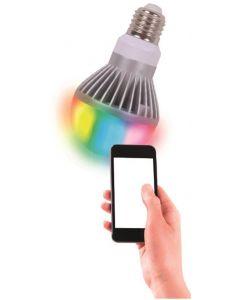 Ultron Save-E RGB LED-lampa, E27, 490±10lm, klot 120°, kan styras med en