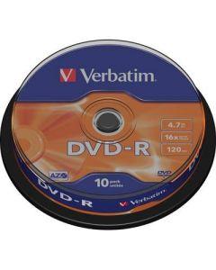 Verbatim DVD-R, 16x, 4,7GB/120min, 10-pack spindel, AZO