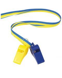 Visselpipor i band, blå/gul 2-pack
