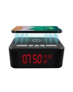 Spionkamera i Bordsklocka SpyBox PRO, Bluetooth Högtalare, Trådlös Mobilladdare, WiFi, Mörkersyn