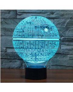 Dekorativ Star Wars lampa med 3D-effekt och skiftande färg - Death Star