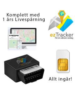 ezTracker OBD II GPS Tracker, plug&play, 1 års gratisspårning i EU