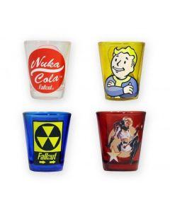 Fallout snapsglas, 4 stycken olika motiv, 6 cl