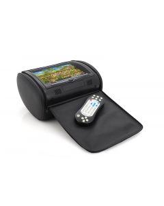 Nackstödsskärm med DVD-spelare för bilbruk, Spelar Divx, Xvid m.m. från USB, Fjärrkontroll, Högtalare